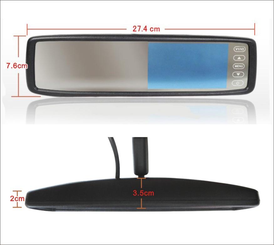 """Monitor espejo 4,3"""" fijación especifica VW con sop-2"""