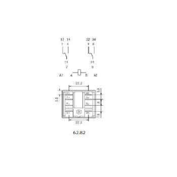 Rele sin enclavamiento Finder 62 Series DPDT bobina 230V ac Enchufable 245 2396