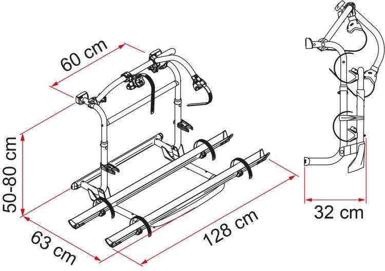 portabibibletas fiamma carry bike pro m 02094 11A dimensiones