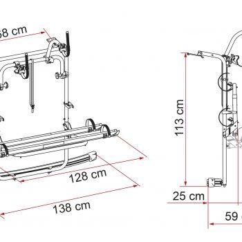 Portabicicletas Fiamma Carry Bike VW Caddy 02094 24A dimensiones