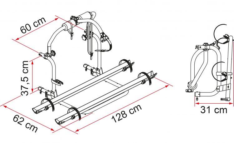 Portabicicletas autocaravana mc louis elnagh fiamma Carry Bike PRO autocaravanas TRIGANO CI ROLLER TEAM 02093A29A dimensiones